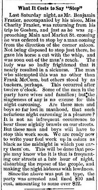 1881 Jun 2 MCCUEN Frank ARRESTED Nappanee News IN