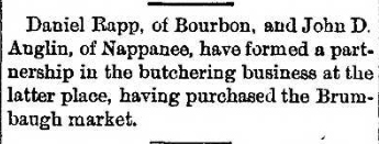 1890 Aug 8 ANGLIN John D BUTCHERING BUSINESS Goshen Daily News IN