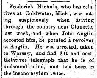 1901 Dec 26 ANGLIN John D GUN POINTED AT HIM Milford Mail Milford IN
