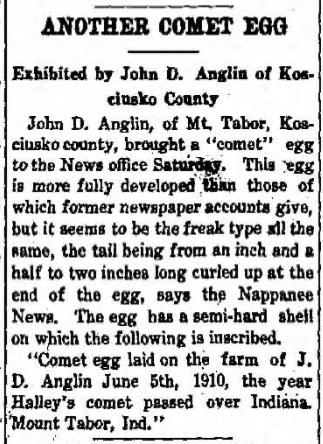1910 Jul 2 ANGLIN John D COMET EGG The Saturday Call Lagrange IN