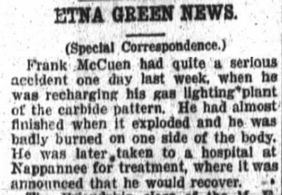 1917 Jan 22 MCCUEN Frank ACCIDENT Fort Wayne Daily News IN