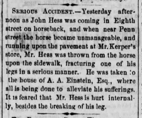 1868 Mar 11 HESS John ACCIDENT Reading Times PA