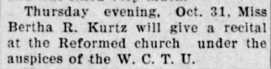 1907 Oct 25 KURTZ Bertha RECITAL The Marion Star OH