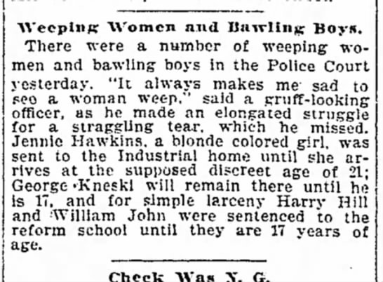 1899 Jan 24 HAWKINS Jennie SENT TO ADRIAN Detroit Free Press MI