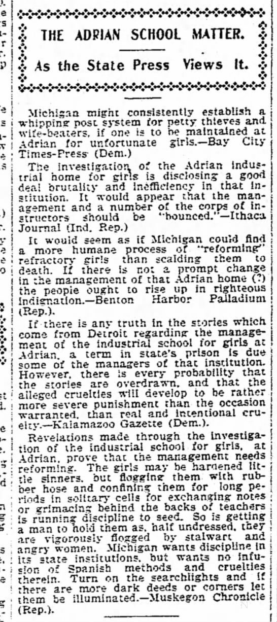1899 May 30 ADRIAN SCHOOL FLOGGINGS Detroit Free Press MI