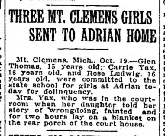 1915 Oct 20 Adrian Home Detroit Free Press MI