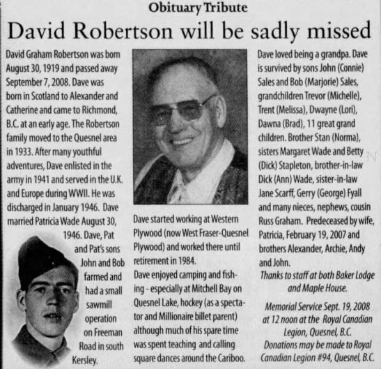 2008 Sep 17 ROBERTSON Dave OBIT Quesnel Cariboo Observer Quesnel BC Canada