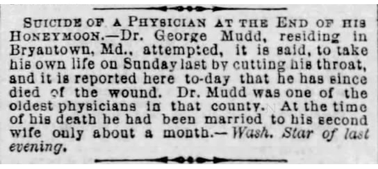1871 Mar 21 MUDD George SUICIDE ATTEMPT The Baltimore Sun