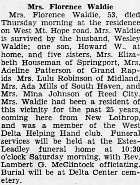 1942 Feb 26 SWARTZ Florence OBIT Lansing State Journal MI