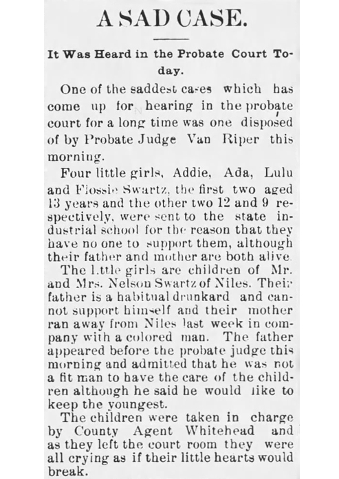 B_1898 Mar 30 SWARTZ Children AGES The News Palladium Benton Harbor MI