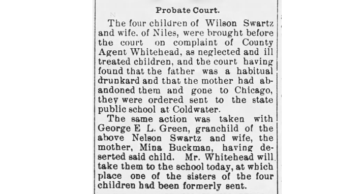 B_1898 Mar 31 SWARTZ children REMOVED FROM HOME The News Palladium Benton Harbor MI