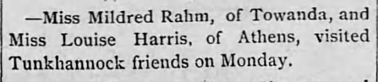 1884 Jul 18 RAHM and HARRIS visit TUNKHANNOCK Tunkhannock Republican PA