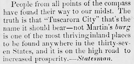 1873 Apr 12 TUSCARORA CITY Shepherdstown Register Shepherdstown WVA
