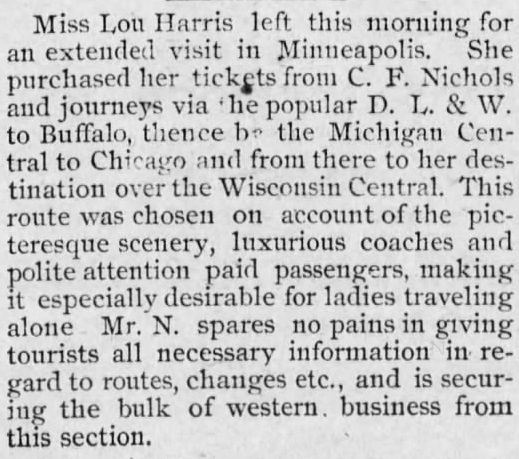 1889 May 28 HARRIS Lou MINNEAPOLIS TRIP The Daily News Athens PA
