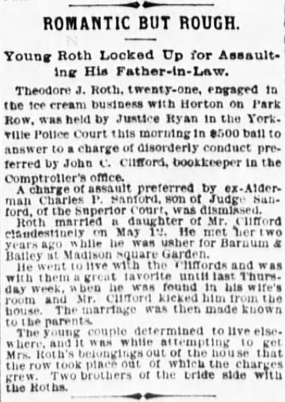 1892 Jun 10 CLIFFORD Grace secret ROTH marriage The Evening World New York New York Pg 5