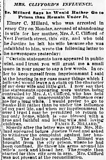 2 Jun 1888 MILLARD Elmer RECONCILES with LILY The Sun New York New York Pg 5