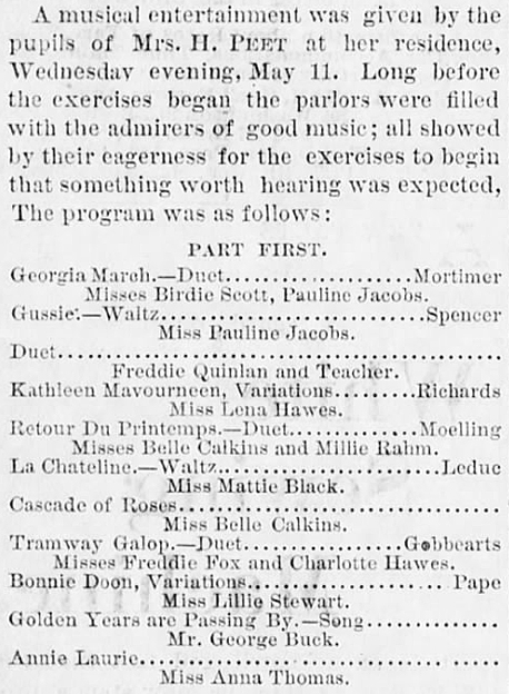 b1881 May 13 RAHM Mildred MUSICAL w Belle_Calkins Towanda Daily Review Towanda PA
