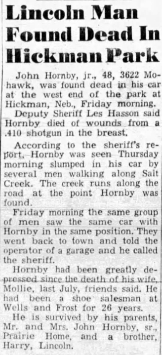 1949 Nov 25 HORNBY John OBIT The Lincoln Star Lincoln NE