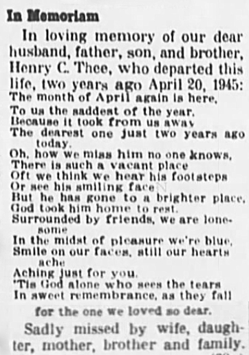17 Apr 1947 THEE Henry 2 yr Memorial Warrenton Banner Warrenton MO