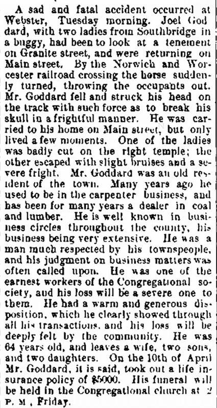 1880 Apr 14 GODDARD Joel OBIT Fitchburg Sentinel Fitchburg MA