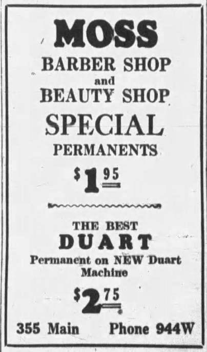 1939 Jan 1 MOSS BARBER SHOP AD The Daily Sentinel Grand Junction CO